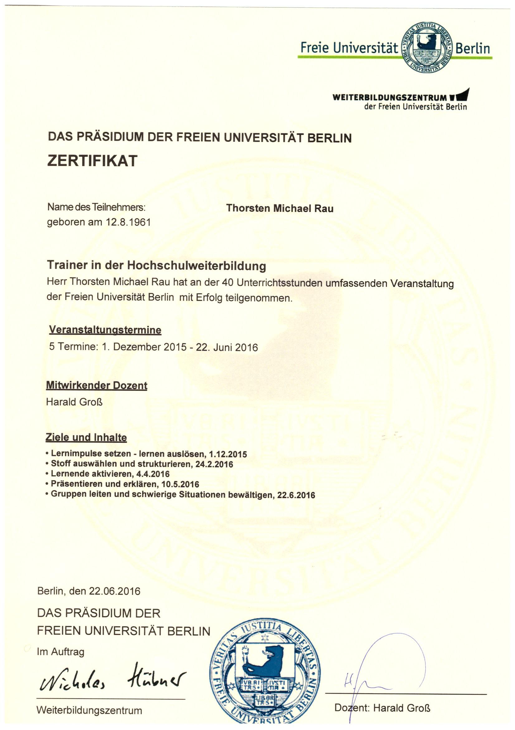 Zertifikat FU 2016