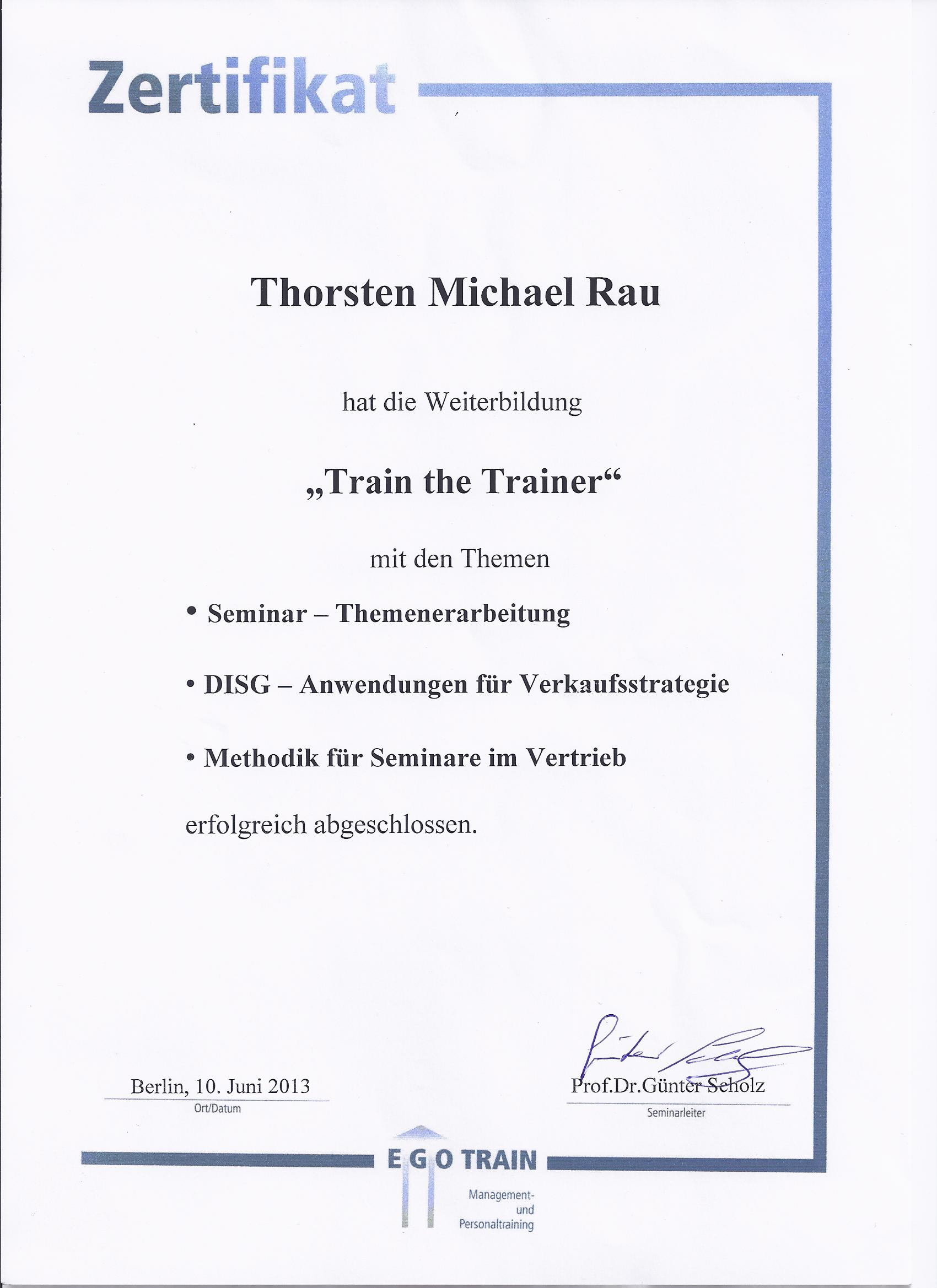 Train The Trainer Zertifikat 2013 Team Rau Seminare